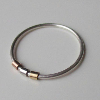Fidget Ring, Anxiety Ring, Worry Ring, Spinner Ring, Tube Bead Ring, Mixed Metal Stacking Ring