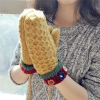 FunShop Patchwork Mitten Gloves with Flowers Detail for Women F1104