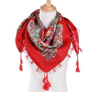 Fashion Women Scarf Luxury Brand Winter Floral Scarf Printed Tassel Shawl Scarf Soft Cotton pashmina wraps echarpe female
