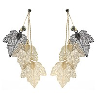 Viennois Gold & Black Hollow Out Maple Leaf Women Dangle Earrings Triple Leaves Long Drop Earring Jewelry With Rhinestone