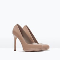 High heel platform court shoe