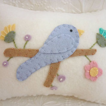 Decorative Bird Pillow Appliqued Wool Felt Bird Penny Rug Primitive