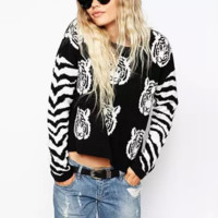 'The Scarlett' Zebra Print Long Sleeve Sweater