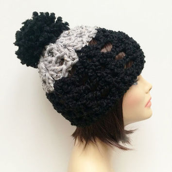 FREE SHIPPING - Crochet Chunky Beanie Hat with Pom Pom - Black, Gray