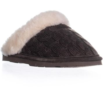 Bearpaw Effie Knitted Flat Slippers, Chocolate, 5 US / 36 EU
