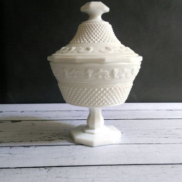 Milk Glass Candy Dish with Lid/ Milk Glass Footed Bowl with Lid/ Hobnail Milk Glass Compote/ Hobnail Urn