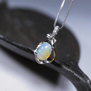 Ethiopian Opal Necklace Sterling Silver, Genuine Opal Necklace, Full Sterling Silver Opal Jewelry, Opal Pendant, Rainbow Opal