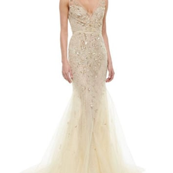 Oscar de la Renta Floral-Beaded Tulle Mermaid Gown