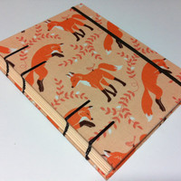 Fabric Foxes on Peach - Handmade Fabric Journal Notebook - Coptic Stitched