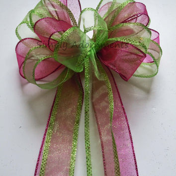 Pink Green Easter Wedding Bow Fuchsia Green Church Pew Bow Birthday Shower Party Decoration Bow Wedding Cake Table Decoration