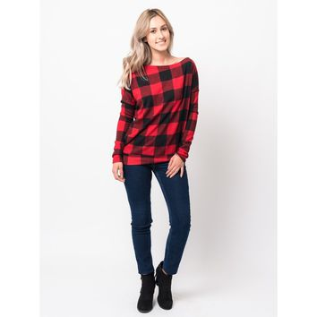 Buffalo Plaid Off Shoulder Sweater