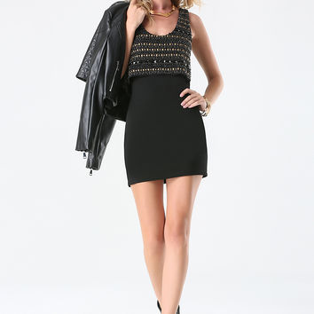 bebe Womens Embellished Ponte Dress Black