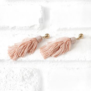 Pink Tiered Tassel Earrings | NRFB