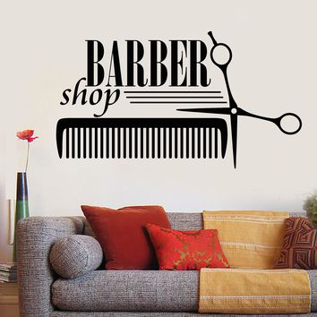 Vinyl Decal Wall Sticker Barber Shop Badges Tools Hair Salon Sign (n856)