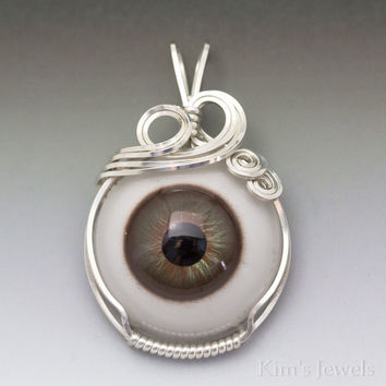 Hazel Glass Eye Eyeball Sterling Silver Wire Wrapped Pendant