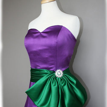 Green and Purple Bridesmaid Dress Custom Made to order by AvailCo