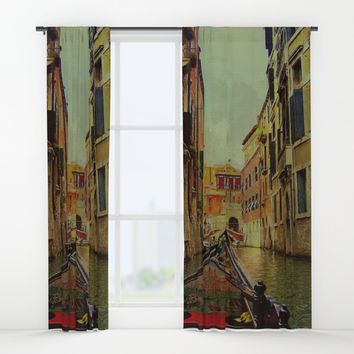 Venice, Italy Canal Gondola View Window Curtains by Theresa Campbell D'August Art
