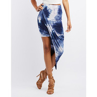 Tie-Dye Draped Asymmetrical Skirt