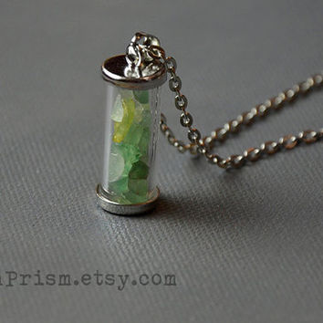 Adventurine Chips in Glass vial pendant necklace   Crystal chips   Glass vial necklace   Green Crystal Necklace   Wish bottle