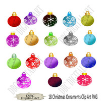 Christmas Ornaments Clipart, Printable Clip Art, Digital Clip Art, Scrapbooking Ornaments, Printable Ornaments, PNG Printables