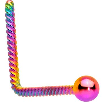 2mm Ball End Rainbow IP So Twisted L Shaped Nose Ring