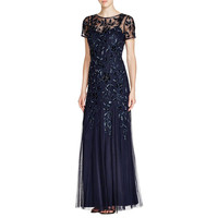 Adrianna Papell Womens Mesh Beaded Evening Dress