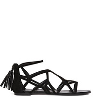Ida Black Geometric Flat Sandals - REISS