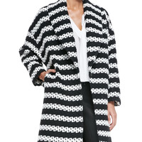 Women's Ralter Striped Tweed Oversized Coat - Alice + Olivia - Black / cream