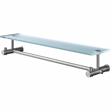 PSBA Wall Mounted Glass Storage Shelf Towel Rack W/ Bar Organizer, Steel Matte - More Sizes Available