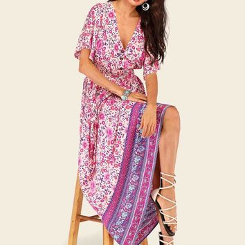 Tribal Ditsy Floral Shirred Waist Dress
