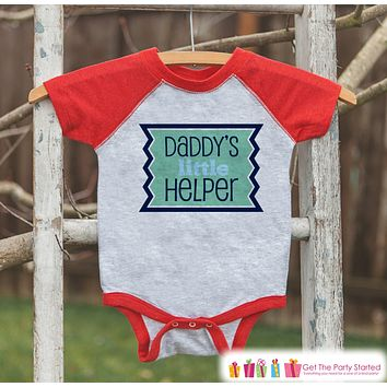 Kids Father's Day Outfit - Red Raglan Shirt - Daddy's Little Helper Outfit - Boys Happy Fathers Day Gift Idea Onepiece or Tshirt for Kids