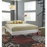 Twin Size White Faux Leather Platform Bed Frame With Wooden Slats