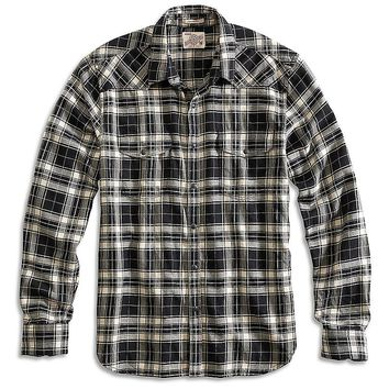 Lucky Brand Del Mar Western Shirt Mens - Black/White