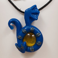 Blue Dragon Pendant Charm Necklace with Yellow Stone, Dragon Pendant, Dragon Necklace, Fantasy Jewelry, Dragon Jewelry, Polymer Clay Jewelry