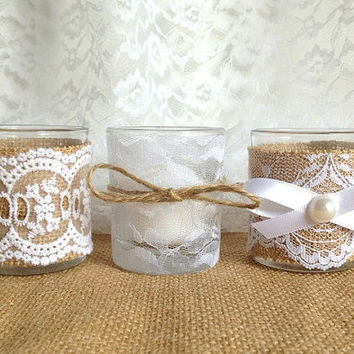 burlap and lace covered 3 piece 10 hour Votive tea candles, wedding decor, bridal shower decor, home decor gift or for you