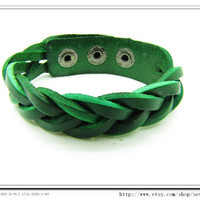 Green Leather Bracelet Cross  Adjustable Bracelet Bangle bracelet mens bracelet women bracelet unisex bracelet cuff bracelet 678S