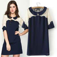 Navy Blue Lace Embroidered Peter Pan Collar Short Sleeve Mini Shift Dress