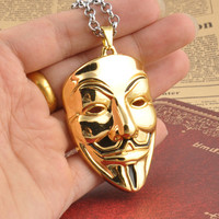 Men Vintage V for Vendetta Face Mask Hip-hop Strong Character Necklace with Gift Box [9067264963]