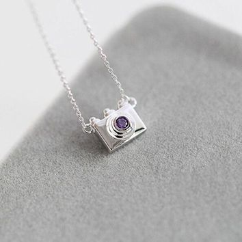 ONETOW New Arrival Gift Jewelry Shiny 925 Silver Accessory Stylish Camera Diamonds Lock Korean Necklace [8379704711]