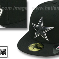 Cowboys SIDE TEAM-PATCH Black-White Fitted Hat by New Era