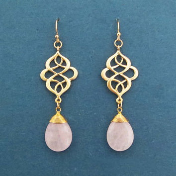 Rose quartz, Celtic knot, Gold, Silver, Earrings, Birthday, Wedding, Best friends, Sister, Gift, Jewelry
