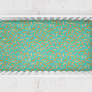 Peanuts Baby Crib Sheet - Turquoise