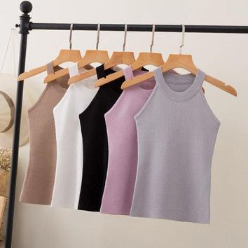 MDIGMS9 Slim Knitting Halter Camisole Tops Female Bodycon Knitted Tanks Sleeveless Basic Solid T shirts