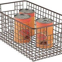 mDesign Deep Wire Storage Basket for Kitchen, Pantry, Cabinet - Bronze