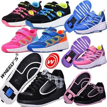Heelys Shoes Children Glowing Sneakers Kids Roller Skate Shoes with Wheels Led Light for Boy Girls Zapatillas Hombre 21 Colors