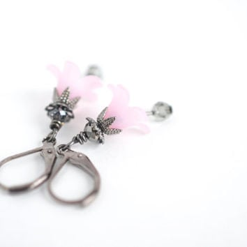 Rose pink flower earrings, tulip drop earrings, vintage inspired dangle earrings, woodland nature pink earrings, fairy earrings,gift for her