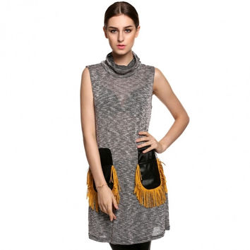 Women Fashion Casual Turtleneck Sleeveless Fringe Pockets Straight Sweater Tank Dress