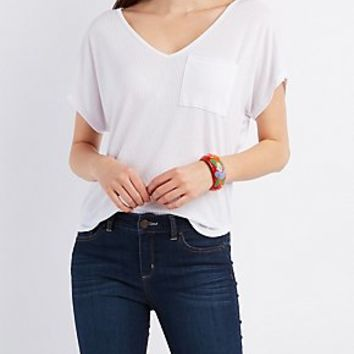 RIBBED BOYFRIEND POCKET TEE