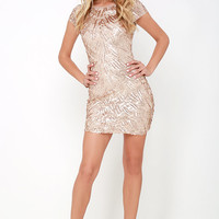 Callback Gold Sequin Bodycon Dress
