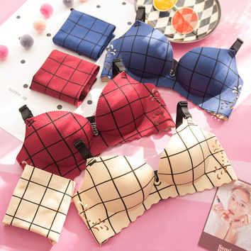 Red Underwear Clip With Steel Wire Plaid Bra Set [11286782991]